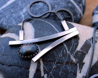 Blue Quartz in Sterling Silver Necklace