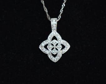 "Cross Necklace 14K White Gold 17 mm 16"" Chain with Diamonds just under .50 ctw"