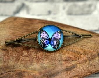 Purple butterfly hair slide, Large hair slide, Purple hair pin, Purple bobby pin, Blue bobby pin, Vintage hair pin, Hair accessories