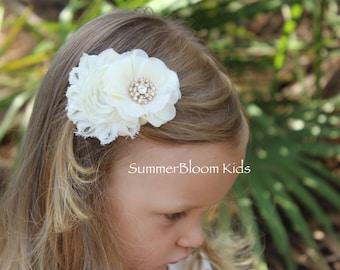 Cream flower hair clips, ivory flower hair clips, vintage hair clips, cream hair bows, cream and gold hair accessories girls toddler