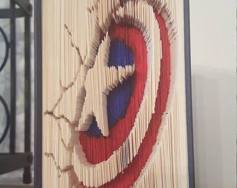 Captain America Shield - Folded Book Art