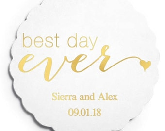 Set of 100 Scalloped Wedding Coasters - Best Day Ever - Custom Coasters - Weddings - Wedding - Wedding Reception - Wedding Coasters