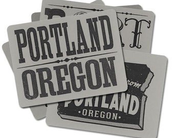 PDX Postcards, Portland, Vintage Letters, Typography, Xmas Gift