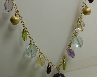 "Gold over Sterling Silver Gemstone Necklace 10.3 grms-18"" long-adjustable-largest stone 13mmX13mm 1782"