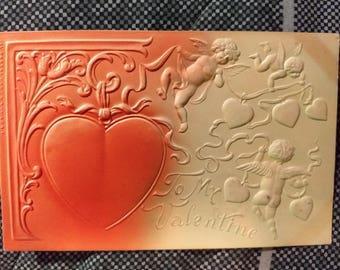 Vintage 1911 Embossed Heart To My Valentine Postcard