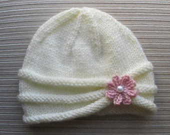 Knitting Pattern Girls Hat with Rolled Brim and a Flower in sizes 6-9 months and 2-4 years #86