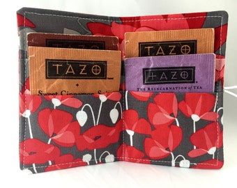 Tea Wallet Tea Bag Wallet - Tea Bag Case Tea Bag Holder Tea Holder Tea Bag Cozy - Tea Bag Organizer - Riley Blake Desert Bloom Poppy in Grey