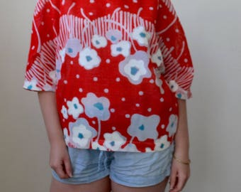 Oversized red top with all over floral print- lightly sheer, S/M