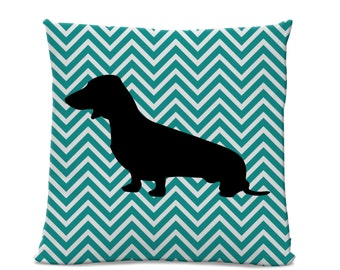 Chevron Dachshund Pillow - Dachshund Silhouette Pillow - Dog Home Decor - Teal White Chevron - doxie home decor - Chevron Pillow