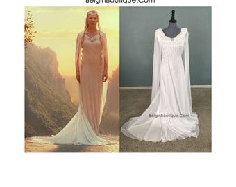 Galadriel White Dress Replica Hobbits Lord of the Rings Halloween Cosplay custom Adult size Small Medium Large XL