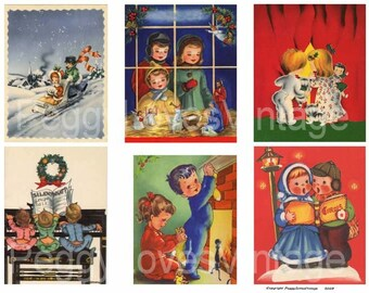Christmas Kids 3 Digital Collage from Vintage Christmas Greeting Cards - Instant Download