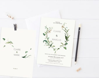 Green Foliage Wedding Suite - vintage florals // Greenery Wedding  // Minimal design // Double sided option // RSVP // St Claire Suite