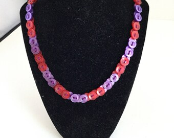 Vintage Two Sided Button Necklace / One of a Kind Red and Purple Button Necklace