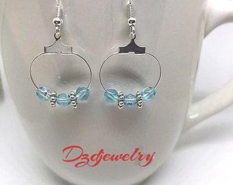 Turquoise Earrings, Czech Glass Earrings, Blue Bead Earrings, Bicone Bead Earrings, Silver Earrings, Hoop Earrings, Boho Earrings, Blue