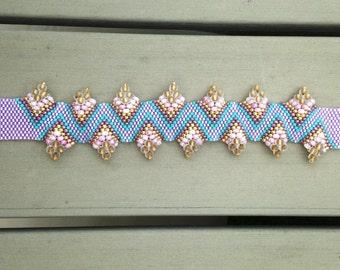 Peyote Stitch Hand Beaded Flat Cellini Bracelet