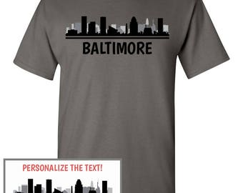 Baltimore Skyline T-Shirt - Men Women Youth Long Sleeve Personalized Custom Tee - MD Maryland Cityscape
