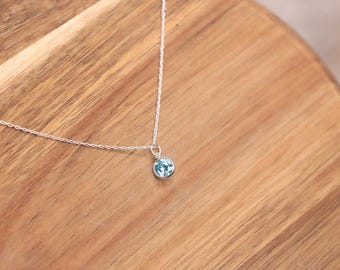 Cubic Zirconia Blue Pedant Necklace - Sterling Silver, Charm Necklace, Crystal necklace