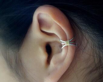 10)Simple Three Line Non Pierced Ear Cuff **SILVER BODY**
