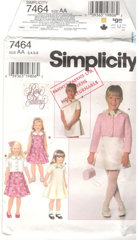 Einfachheit 7464 Größe 3 4 5 6. Schnittmuster: Mädchen