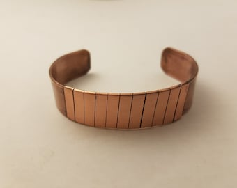 Copper Cuff Bracelet with copper strip wrapping.