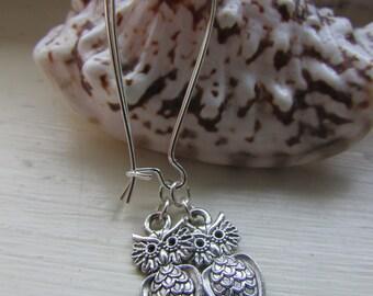 Owl earrings , Kidney wire earrings , Tibetan silver charm earrings , Dangle earrings , Silver plated earrings , Gifts for her