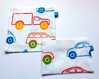 Reuseable Eco-Friendly Set of Snack and Sandwich Bags in IKEA Cars and Trucks Fabric