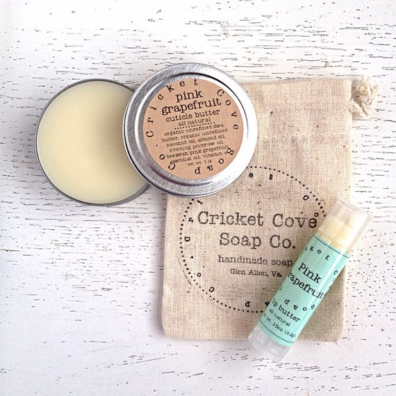 Lip Butter and Cuticle Butter Set - Salve Set - Healing Gift Set - Lip Balm - Cuticle Cream - gift idea