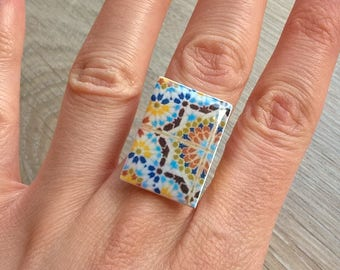 Moroccan tile ring, Moroccan jewelry, Moroccan rectangular tile, Moroccan gift, adjustable ring, travel souvenir, mom gift, anniversary ring