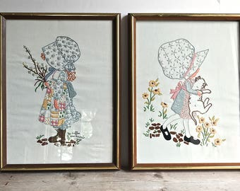 Hollie Hobbie Framed Embroidery Pictures Pair Set Needlework