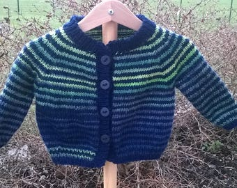 boy Navy and green wool vest 6 months