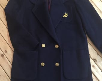 Double Breasted Wool Coat with Gold Crest