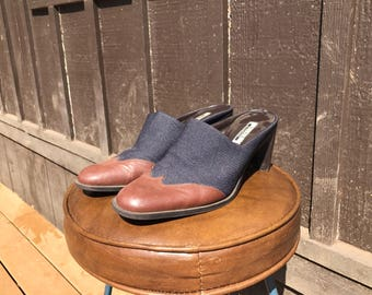 Denim and Vegan Leather Mules Women's Size 8