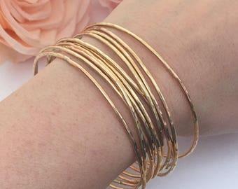 Gold Bracelets, Custom bangles,  Stack Bangles, Hammered bangle, Gift for her, Gold Bangle Bracelet, Thin bangles, Womens Gifts, Gold Bangle