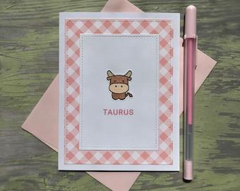 Taurus Card - Taurus Birthday - Taurus Birthday Card - Zodiac Card - Zodiac Birthday Card - Taurus Zodiac Sign - Astrology Card - Taurus