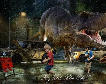 Dinosaur T Rex Escape Backdrop With Rain Overlay, Dinosaur Backdrop, Pre made Backdrop, Dinosaur,