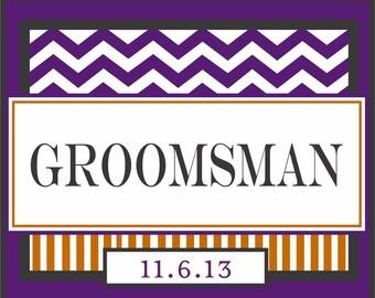Groomsman Beer Bottle Labels - Custom Chevron Groomsman Best Man Liquor Bottle Label