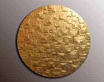 Round Gold Leaf Wall Art   Gold Wall Sculpture   3D Wall Art   Textured Wall  Panel   3D Gold Wall Decor   Abstract Wall Decor