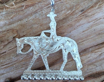 "Pleasure Horse Pendent/ artisan Handmade/ Sterling Silver/ silhouette/ 1 1/2""x 1 1/4"""