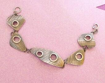 Silver Bracelet - Designer Modern Style - Textured Sterling Silver Links - Unique - Artisan
