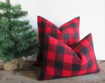 Pillow Cover Buffalo Plaid Black Red Woven Buffalo Check Both Sides Zipper Opening New F/W 2017/18