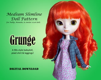 90s Grunge outfit clothing pattern for Pullip, Momoko, & similar size dolls