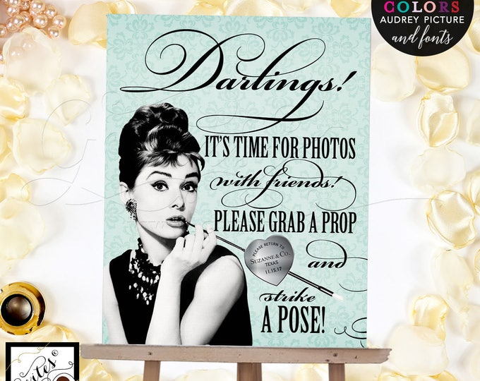 Photo Booth Sign - Breakfast at themed party, grab a prop strike a pose, Audrey Hepburn Downloads Party Supplies CUSTOMIZABLE 8x10