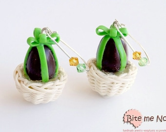 Choco Eggs in a Basket Earrings, Hook Earrings, Easter Gifts, Mini Food, Polymer Clay Sweets, Miniature Food Jewelry, Festive Jewelry