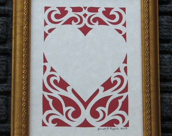 Personal Heart - Scherenschnitte - Hand Paper Cutting Art signed and dated By Janet Lynch -5x7 Framed