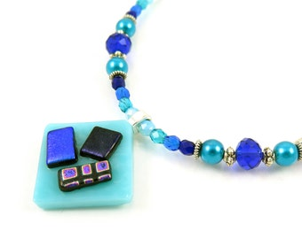 """MAJOR MARKDOWN - Aqua and Blue 18"""" Beaded Dichroic Tack Fused Glass Necklace and Earring Set"""