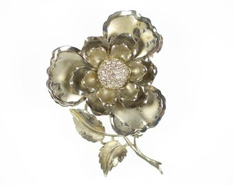 Very Large Layered Flower Brooch Silver Tone Metal Vintage Pin