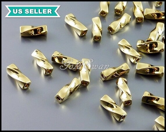 Polished gold over brass twist tube beads mm
