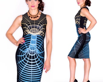 Space Time Warp Dress, Astronomy Dress, Scifi Dress, Blue and Yellow, Geek Wear, Blacklight reactive