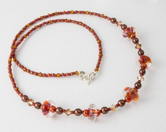 Amber and Orange Lampwork Necklace