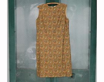 Vintage 1960s Sleeveless Paisley Sparkle Shift by Jonathan Logan -M/L- Orange/Gold/Green